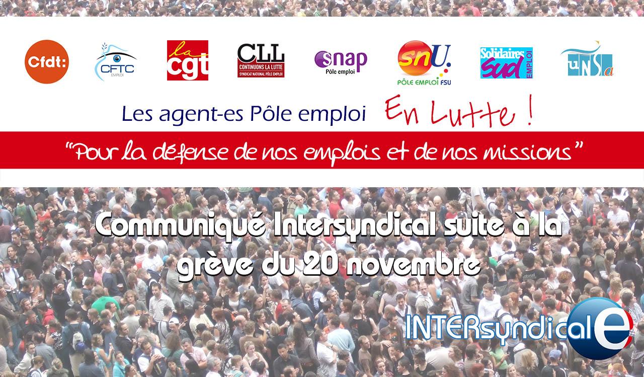 Communiqué intersyndical sur la grève du 20 novembre à Pôle emploi